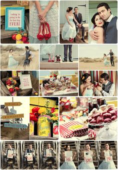 Retro seaside wedding (some great ideas here! 50s Wedding, Circus Wedding, Rockabilly Wedding, Seaside Wedding, Wedding Shoot, Wedding Themes, Summer Wedding, Wedding Events, Dream Wedding