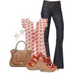 Polka dot top with great handbag - Polyvore