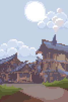 [OC][NEWBIE] Small Town : PixelArt