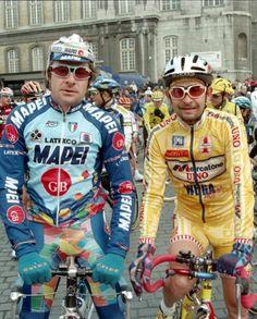 A Sx Gianni Bugno Mappei,e a Dx Marco Pantani Mercatone uno. Vintage Cycles, Vintage Bikes, Bike Poster, Bicycle Race, Old Bikes, Cycling Art, Super Bikes, Champions, Bike Stuff