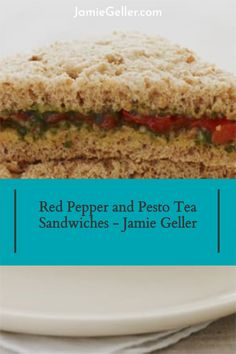 """In England, these tiny sandwiches are called """"savories,"""" and have we got some savory delights for you! This Red Pepper and Pesto Sandwiches is pareve and delicious. Now, you don't have to cut all the crusts off -- but it does make them more elegant and authentic – so why buck tradition? #vegan #lunch #healthy Appetizer Recipes, Appetizers, Pesto Sandwich, 5 Ingredient Recipes, Tea Sandwiches, Slice Of Bread, Crusts, Red Peppers, Quick Easy Meals"""