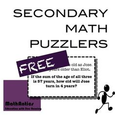 Secondary Math Puzzlers is a set of 8 math problems great for bell-ringers, time-fillers, and challenge.  The problems do not require a given set of prior knowledge and multiple problem solving techniques can be used to solve them.These problems can be posted at the beginning of class, placed in math centers, posted as a puzzler of the week, or given to students who finish early.