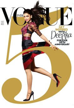 Deepika Padukone wearing Manish Arora Vogue India 5th anniversary cover series
