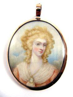 Georgian Portrait Miniature of a Lady of Fashion Wearing a Miniature, Hair Reverse, c.1785  found on Ruby Lane
