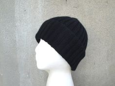 Black Cashmere Hat Knit Beanie Watch Cap Luxury Gift by Girlpower