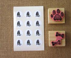 Basset Hound Dog Stickers One Inch Round Seals by PetitePaperie, $1.50