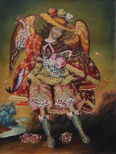 "Archangel Raphael Cuzco School Oil Painting On Canvas 16""H x 12""W (30-100-07026) - Alpaca Warehouse"