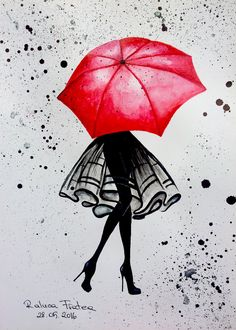Red Umbrella shared by Lyssali on We Heart It Umbrella Painting, Umbrella Art, Drawing Umbrella, Small Canvas Art, Diy Canvas Art, Canvas Artwork, Art Drawings Sketches Simple, Cute Drawings, Art And Illustration