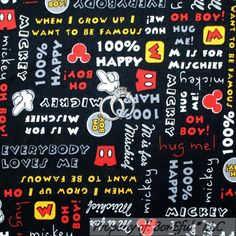 Boneful Fabric Fq Cotton Quilt Vtg Black B&W Disney Mickey Mouse Word Stripe Dot Scrap Fabric Projects, Fabric Scraps, Quilting Fabric, Flannel Quilts, Cotton Quilts, Mickey Mouse Head, Disney Mickey Mouse, Wedding Types, Black B