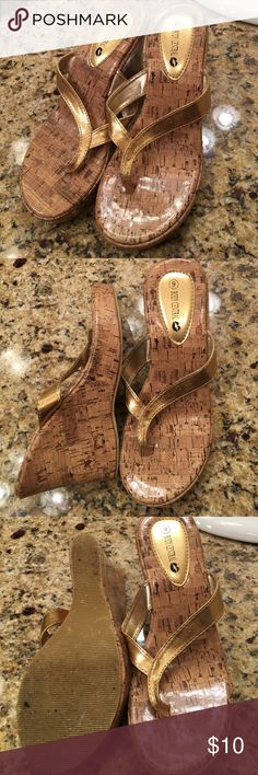 Gold wedges Gold thong style wedges. Worn a few times Body Central Shoes Wedges