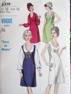 Vintage 1960s Vogue sewing pattern for a semi fitted dress and blouse  Gorgeous blouse designs with a feature peter pan collar or wide roll bias