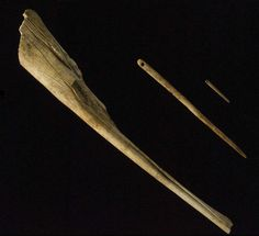 Bone sewing needles from Altamira    13 500 - 11 000 BP.    This Palaeolithic invention had the same purpose as the current tool: to make clothes, shoes or hats. With parallel grooves made with a burin, thin rods were extracted from the bone which later were perforated and polished on stone to make needles. The smallest ones, with a 2 mm diameter and an eye, prove how well they tanned skins to make clothes, and how thin the thread was, which was probably made of animal tendon.    Photo…