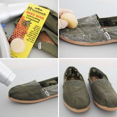 whoa! use beeswax to waterproof your fabric shoes!
