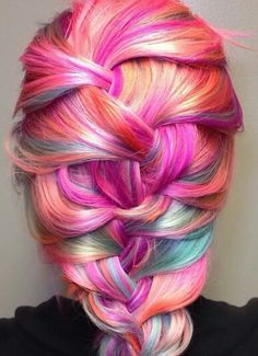 Pink orange rainbow braided back dyed hair color @pinupjordan