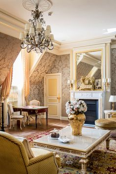 Luxuriously elegant Parisian living room                                                                                                                                                                                 More