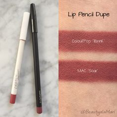 vegan ColourPop 'Brink' Lippie Liner is a dupe for MAC's non-vegan and more expensive 'Soar' pencil.
