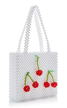 We are obsessed with all things cherry print this summer! From bathing suits that are perfect for vacation to fun cherry print phone cases and sundresses (plus, delicate earrings), you won't be able to get enough of this trend! Beaded Purses, Beaded Bags, Or Noir, Cute Keychain, Sewing For Beginners, White Beads, Sewing Techniques, Bead Art, Beading Patterns