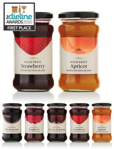 2010 first place - waitrose high fruit jams packaging awards, fruit packaging, food packaging Packaging Awards, Fruit Packaging, Food Packaging Design, Bottle Packaging, Packaging Design Inspiration, Brand Packaging, Coffee Packaging, Food Design, Design Ideas