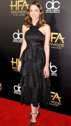 Carey Mulligan in black halter-neck lace Erdem dress with a tiered skirt and Christian Louboutin ankle-strap sandals at the 19th annual Hollywood Film Awards.