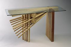 Ash Explosion hall table number made from wood with glass top console by Seth Rolland furnituremaker Hardwood Furniture, Custom Furniture, Furniture Design, Studio Furniture, Glass Top Coffee Table, Glass Table, Solid Wood Table, Hall Design, Fine Woodworking
