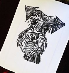Screen-printed - A super schnauzer tea towel. designed, printed and made in the UK The design features my original illustration Doodle Art, Animal Drawings, Art Drawings, Schnauzer Art, Dog Art, Painting & Drawing, Fabric Painting, Art Inspo, Screen Printing