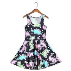 c9c57dc1bb Aliexpress.com   Buy Vintage Color cartoon dinosaur 3d print slim  sleeveless O neck vestidos polyester pleated dress sexy beach dress 2015  new stock from ...