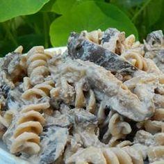 Vegan Portobello Stroganoff Recipe - This doesn't look like much, but it was AMAZING. I made it with some farfalle and almost died from the delicious.