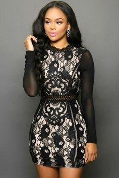 vestido femininos women new 2016 spring fashion casual dress Sexy White/black Lace Mesh Sleeves Mini Dress LC22576 - Alternative Measures - Black / L - 3