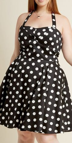POLKA DOT SWING DRESS - Sizes S-3X - Vintage pin up style rockabilly fashion black or pink polka dots dress with pockets. Sweetheart halter neckline. Plus size little black dresses, holiday party LBD, girls night out outfit ideas, retro fashion, timeless classic style, Plus size outfits fashion for women, curvy girl fashion summer, curvy fit,  homecoming dresses, prom dresses, outfit to wear to a wedding, work outfits women, ssbbw, bbws big girls full figured, chubby fashion. Affiliate Link.