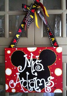 Teacher Name Plates for Door mickey mouse esty | Mickey Mouse Teachers Door Sign or Kids Bedroom Door Sign. 11x14 ...