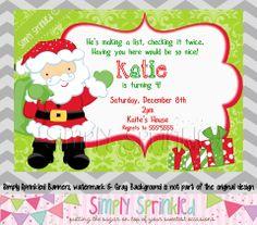 Santa Christmas Party Invitation- DIY Printable by Simply Sprinkled