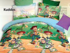 #Krtifab Kids Collection - Make your kid's room as vibrant and charming as them by making this bed linen set a part of it. The attractive cartoon print adds to the buoyant appeal of this set. Visit us at www.facebook.com/KrtiF