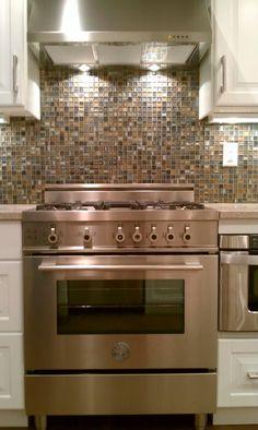glass loft - titanium clay mix mosaic aceent tile for the kitchen