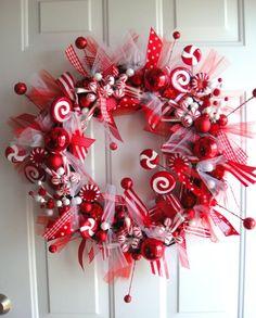 Peppermint Sticks & Lollipops Ribbon Wreath Idea !