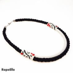 Items similar to Black White Ethnic Necklace / Red White Traditional Necklace / Special Women Jewelry / Twisted Rope Necklace / Rose Necklace on Etsy Marine Rope, Handmade Necklaces, Handmade Gifts, 18 Days, Rope Necklace, No Response, Ethnic, Rest, Delivery