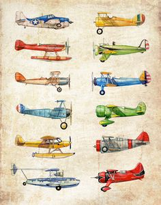 TWO 16x20 Vintage Airplane Collection antiqued by FlightsByNumber