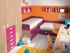 #Habitaciones juveniles en espacios pequeños. Dormitorio Niko con camas dispuestas en forma de L.