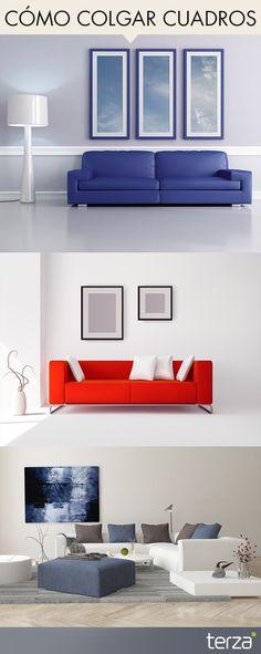 Al momento de decorar con cuadros, toma en cuenta:   - Un cuadro colgado sobre un mueble, no debe quedar pegado a él, y mucho menos acercarlo al techo. La regla es colocarlo separado del respaldo al menos por unos 45cm. - El cuadro nunca debe ser más ancho que el ancho del mueble. Sobre un sillón de dos o más cuerpos siempre es conveniente colocar un cuadro horizontal. #CreamosAmbientes