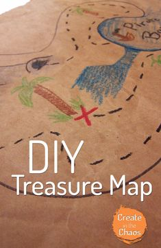 Pirate Week Day Pirate Flag and Treasure Map - Create in the Chaos Treasure Maps For Kids, Pirate Treasure Maps, Pirate Maps, Pirate Hat Crafts, Diy Art Projects, Simple Projects, World Book Day Costumes, Map Crafts, Fun Arts And Crafts
