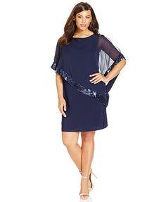 Xscape Plus Size Sequin-Trim Capelet Dress