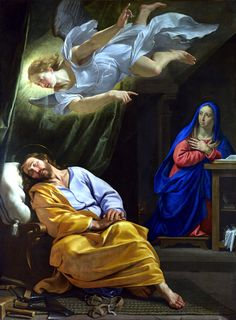 """""""Joseph, son of David, do not be afraid to take Mary your wife into your home. For it is through the holy Spirit that this child has been conceived in her. She will bear a son and you are to name him Jesus, because he will save his people from their sins."""" Matthew 1:20-21 // The Dream of Saint Joseph / El Sueño de San José // c.  1642-1643 // Philippe de Champaigne // National Gallery, London"""