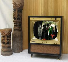 Vintage TV Set Tiki Bar Cabinet Retro Mid Century Modern Television Display 2 | eBay