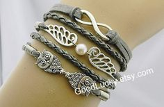 BraceletsHipsters jewelryOwls by charmjewelrybracelet on Etsy, $10.99