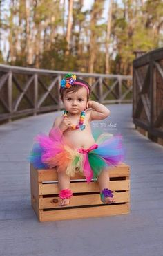 This Personalized Rainbow Tutu Birthday Outfit is perfect for her birthday party, birthday photos and smash cake photos! This outfit is shown for a 1st Birthday, but we can size it for any birthday or