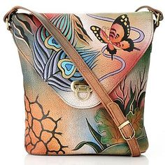 Anuschka Hand-Painted Leather Flap Over Cross Body Bag