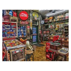 """Take some time and shop around at """"Good Nabor Stores,"""" the Springbok 500 piece jigsaw puzzle. This photo of an incredible vintage store has everything from records to pinball machines. Completed puzzle is x Coca Cola, Pepsi, Coke, Best Jigsaw, Woodworking Jigsaw, Woodworking Ideas, Gas Station, Puzzle Pieces, Pinball"""