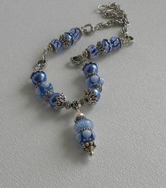 Bluer Than Blue Handmade Beaded Necklace