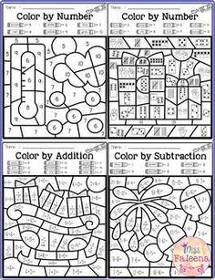 There are 4 pages of color by math worksheets in this product. These pages are fun and effective way to learn number, counting, addition and subtraction. Students can use crayons, colored pencils or markers. Pre- K Math Coloring Worksheets, 1st Grade Math Worksheets, First Grade Math, Free Worksheets, Grade 1, Math Classroom, Kindergarten Math, Teaching Math, Number Sense Kindergarten