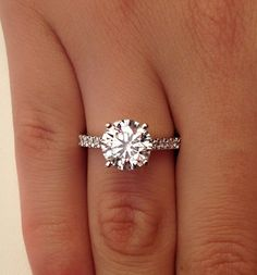 Beautiful Jewellery, Diamond Solitaire Engagament Ring 14K White Gold, Women's Fine Luxury Jewelry.