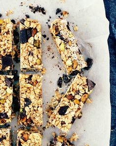 Chewy Homemade Granola Bars with Chocolate, Cranberries + Pistachios. These chewy homemade granola bars are no-bake and loaded with chocolate, cranberries and pistachios.  Easy and fantastic!